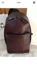 $450 Coach Charles Leather Pack Sling Bag Oxblood F72226