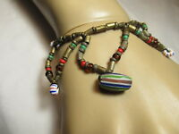 Vintage Czech or Murano Artist Lampwork Hand Blown Stripe Glass Bead Necklace 8""