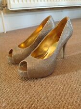 Nine West Sparkly Sequin Gold Stiletto Platform Heels Shoes Sz 6 Worn Once