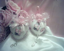 Shabby Victorian~Cottage~TWO Heart Ornaments~Rose Design~Pink ROSES~~Glitter