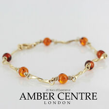 ITALIAN HAND MADE BALTIC AMBER BRACELET IN 9CT GOLD -GBR009 rrp£295!!!