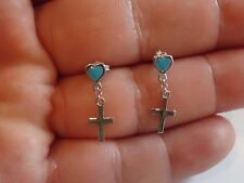 925 STERLING SILVER HEART & CROSS DANGLING EARRINGS W/ TURQUOISE/ 22MM BY 6MM