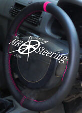 FOR CITROEN C1 2005-2013 REAL BLACK LEATHER STEERING WHEEL COVER +HOT PINK STRAP