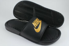 NIKE BENASSI JDI BLACK/GOLD METALLIC SPORT SANDALS SLIDES SWOOSH US MENS SIZES
