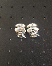 US Seller Sterling Silver Rare Cool Smoking Skull with Google Stud Earrings 925
