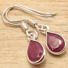 925 Silver Plated Jewellery, RED RUBY DANGLING Earrings For Women LADIES GIRLS