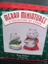 Hallmark Merry Miniatures 2Pc Busy Bakers Cat Baker New