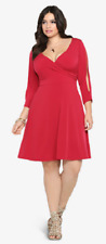 Torrid 3X Plus Size SEXY Red Hot Stretch Wrap Plunge Cold Shoulder Slash Dress