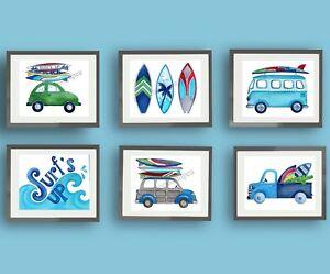 SURF'S UP CHILDREN kids SURFING ART prints decor BEACH NAUTICAL ART PRINTS
