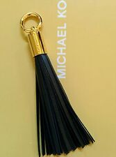 New Michael Kors MK Logo Gold Hardware Black Leather Tassel Handbag Fob Hang Tag