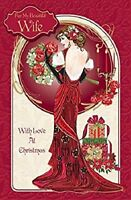 Art Deco ~ For My Beautiful Wife Love At Christmas ~ Large Boxed Luxury Card