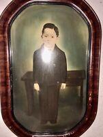 """Antique Convex Bubble Glass Tiger Stripe Wood Frame Boy Portrait Large 20""""x13"""""""