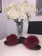 Real Fox Fur Sliders