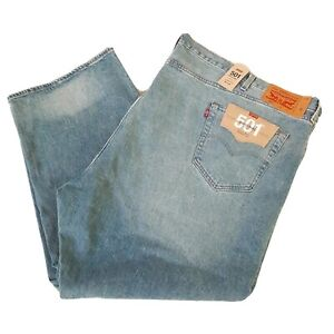 Levi's 501 Original Fit Mens Button-Fly Blue Denim Jeans 60X28 Stretch New