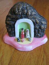 Vtg Terracotta Nativity Miniature Tiny Hand Painted Manger Scene Small Christmas