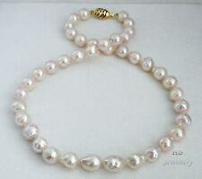 """HS Baroque 9.5X12.5mm Japanese Akoya Cultured Pearl Necklace 17"""" 14K W/ Diamonds"""