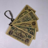 Vintage Citizens Bank Of Louisiana Plastic Money Souvenir Keychain Key Ring