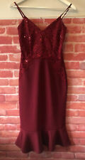 Quiz Berry Red Evening Dress Sequin Lace UK 8 Occasion Christmas Party NEW