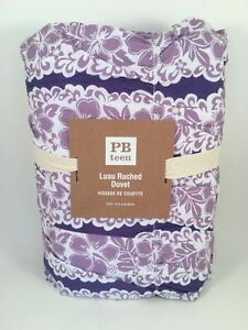 Pottery Barn Teen Luau Ruched Full/Queen F/Q Duvet Cover Purple Floral