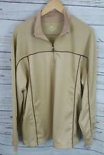 Greg Norman Play Dry Mens Half Zip Tan Long Sleeve Sweater Xl 100% Microfiber