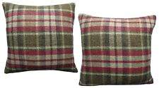 Pack Of 2 Check Tartan Style Wine Woven Design Cushion Covers