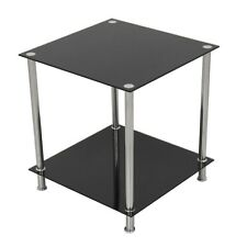 AVF Two Tier Lamp Table in Black Glass and Chrome