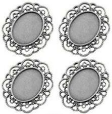 23 x 18 Cameo Cabochon Setting Silver Plated with Fancy Edging