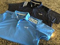 Two Blue Adidas Mens GOLF Polo Shirt Active clima cool W/CSUSB LOGO Size L