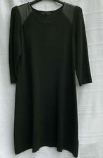 M&S Black Knitted Tunic Jumper Dress Faux Leather Trim Thick Soft Size 20