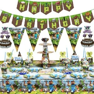 TNT Mining Pixel Video Game Birthday Party Supplies Balloons Decorations Banner