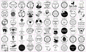 Personalised Handmade By Laser Rubber Stamps - 60 Designs - Multiple Square Size