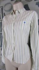 Aeropostale White Green Stripe Women's Medium Button Front Fitted Cotton Shirt