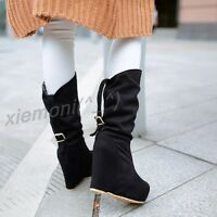 New Womens Mid CALF Boot Faux Suede Wedge Pull On Slouch Buckle High Heel Shoes