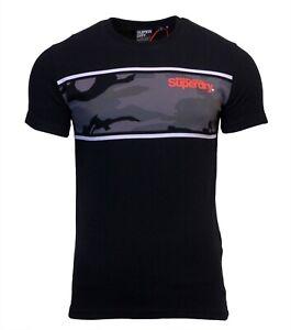 Superdry Mens Core Logo Camo Stripe Short Sleeve Crew Neck Print T-Shirt Black