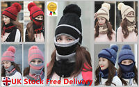 3Pcs Women Beanie Pom Hat Scarf  Face Mask Set Knitted Winter Warm Snow Ski Cap