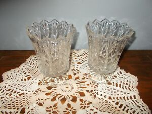 2 CANDLE HOLDER AND VASE CRYSTAL TAPER  PEDESTAL SCALLOPED HURRICANES