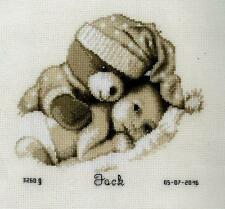 Baby & Teddy Birth Record Vervaco Counted Cross Stitch Kit PN0155574