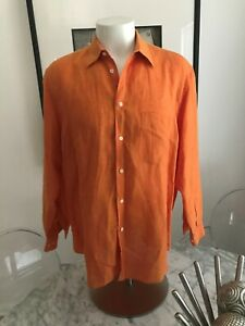 Men's Brioni 100% Linen Long Sleeve Button Front Shirt Size L Made in Italy.