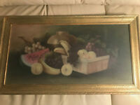 """Vintage S Goodell """"Still Life With Fruits Scene"""" Pastel Painting - Signed/Framed"""