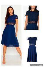 Boohoo Lace Top Chiffon Skater Dress, Navy, Size UK 14 RRP £25