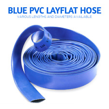 Blue PVC Layflat Hose Pipes Water Delivery Discharge Irrigation 4 BAR Lay Flat