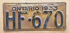 "1933 ONTARIO PASSENGER AUTO  LICENSE PLATE  "" HF 670 "" ON 33  CANADA  ORIGINAL"