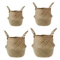 Seagrass Storage Basket Foldable Handmade Laundry Belly Holder Plant Orga #16Y