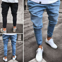 Men's Fashion Stretchy Ripped Skinny Biker Jeans Destroyed Slim Fit Denim Pants