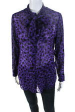 Equipment Femme Womens Button Down Collared Sheer Shirt Purple Silk Size Small