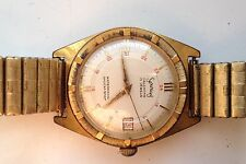 MENS VINTAGE SERVICES CALENDAR 17 JEWELS GOLD PLATED 24 HOUR DIAL WATCH SPARES