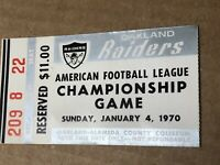 Oakland Raiders 1970 AFL Game Ticket Stub Vs. KC Chiefs Final AFL Game B4 Merger
