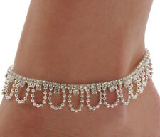 Silver Women's Rhinestone And Beaded Chain Adjustable Anklet Ankle Bracelet D595