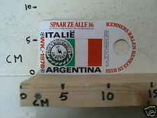 STICKER,DECAL WK ARGENTINA 1978 VOETBAL,SOCCER JH HENKES ITALIE ITALY A