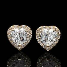 1.00CT Heart Halo Created Diamond Earrings Solid 14K Yellow Gold Screwback Studs